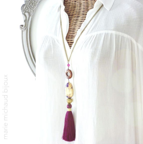 Purple necklace, One-of-a-kind necklace, Boho chic necklace, Silk tassel necklace, Hand painted necklace, Purple jewelry, Statement jewelry