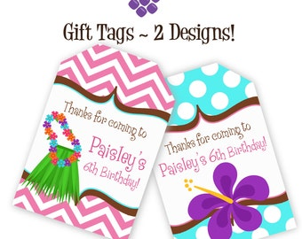 Luau Gift Tags - Pink Chevron, Turquiose Polka Dots, Grass Skirt, Lei Luau Personalized Birthday Party Gift Tags - A Digital Printable File