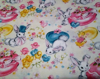 Easter Fabric/Vintage style Fabric/ Bunnies and Eggs and Chickens/Cotton/ half yard