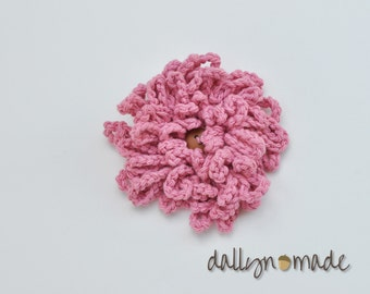 Pink Flower Bow, Child's Hair Clip, Chrysanthemum, Girl's Hair Accessory, Photo prop