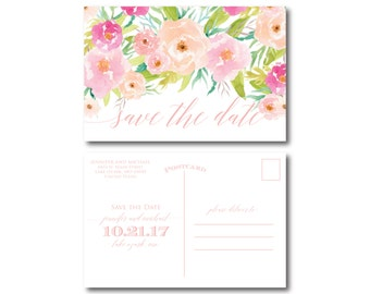 PRINTABLE Save the Date Postcard, Floral Save the Date, Wedding Save the Date, Save-the-Date, Wedding Postcard, Save our Date #CL131