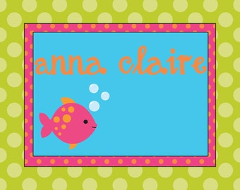 Bright Polka Dot Personalized Notecards with Fish