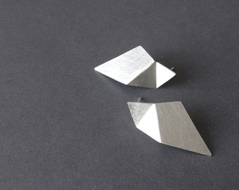 Geometric Silver Earrings, Triangle Sterling Silver Earrings, Silver Drop Earrings, Minimalist Silver Earrings, Statement Earrings
