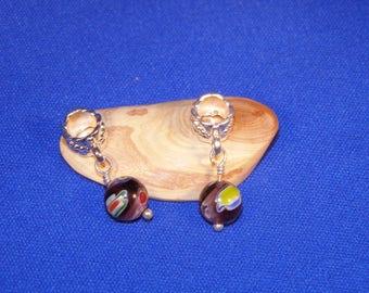 1 black millefiori glass bead pandora charm 24 x 5 mm