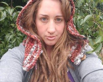 Crocheted hand spun hand dyed art yarn beanie pixie hat hood