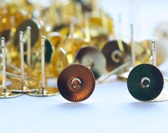 Gold Tone 8mm Flat Pad Setting Earring Posts w/ Nuts (40) fnd003A