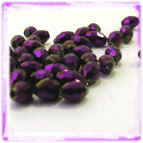 Rice 6x4mm Purple Electroplate x 25 faceted Czech Crystal beads