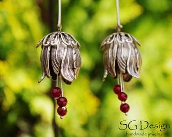 """Silver 925 Earrings """"Florein"""" Ruby,Sterling Silver Earrings,Silver Flower,Gothic Earrings,Victorian Earrings,Floral Earrings,Gift for Her"""