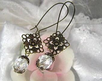 Crystal Earrings / Antiqued Brass Earrings / Long Dangle Earrings / Pierced Earrings / Drop Earrings /Bridal Earrings / Wedding Jewelry