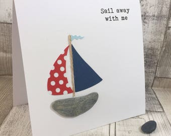 Handmade Pebble Greeting Card, Pebble Birthday Card, Boat Birthday Card, Yacht Birthday card, Pebble Card, Pebble boat Card, Pebble Yacht