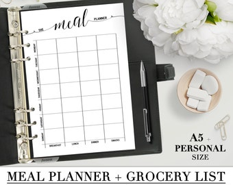 Printable MEAL PLANNER + GROCERY list for your Personal, A5 and Letter size planners_ Menu Plan, Fitness, Weekly Meal Planner, Pdf Inserts