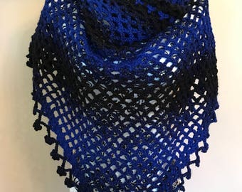 Blue and black shawl