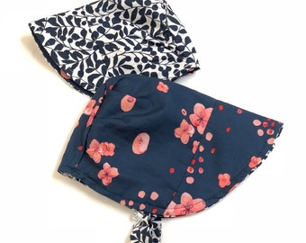 UB2 ORGANIC IMOGENE a coral and navy blue poppies floral flower sun bonnet GOTS organic cotton baby summer sun hat, by Urban Baby Bonnets