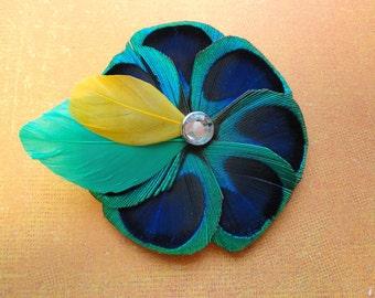 ADDIE Peacock Feather Hair Clip