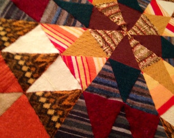 Recycled Wool Baby/Lap Blanket- Autumn Mandala