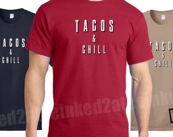 Tacos and chill Mens Tshirt funny humor chill tshirts tees taco tshirts movie night