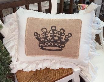 Pillow Slip Cover Pillow Sham  Burlap Muslin Pillow Sham PILLOW CASE Queen's CROWN design