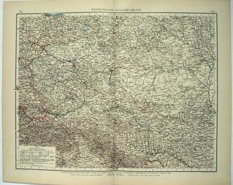 Poland, Galicia & SW Russia: Original 1896 Map by Velhagen and Klasing. Antique
