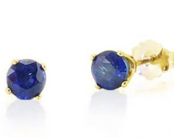 14K Sapphire Studs - 14K Yellow Gold Genuine Blue Sapphire Stud Earrings .75ct - 4mm Round - September Birthstone - Gift for Her