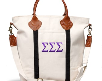 SSS Sigma Sigma Sigma Sorority Embroidered Cotton Canvas Flight Bag