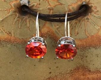 Sterling Silver and Fire Opal Dangle Earrings