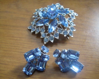 Ora Light Sapphire Rhinestone Clipback Earrings with Additional Brooch in Light Sapphire