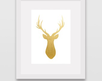 Gold Foil Deer Head Silhouette // Instant Wall Print