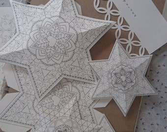 3D Papercraft Star of David Decorations-Passover Coloring Book-5 Printable Templates-Holiday Craft Activities-INSTANT DOWNLOAD by @zebratoys