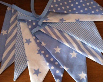 Fabric bunting, Baby Blue and White Pennant Banner, Spots, Stars and Stripes Bunting, Nursery Banner, 10 Double Sided Flags
