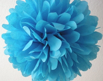 TURQUOISE blue tissue paper pompom / fiesta wedding decorations / boy 1st birthday party decor circus carnival baby shower