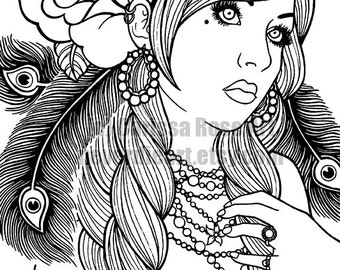 Digital Download Print Your Own Coloring Book Outline Page - Gypsy Girl Tattoo Flash by Carissa Rose