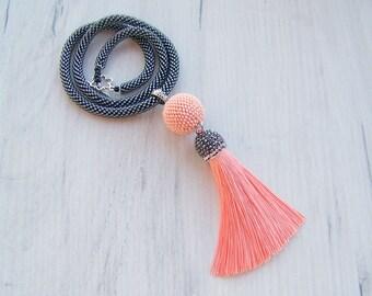 Salmon Pink and Shiny Black Tassel Necklace - Bright silk tassel necklace - Elegant Statement Tassel necklace - Long tassel pendant necklace