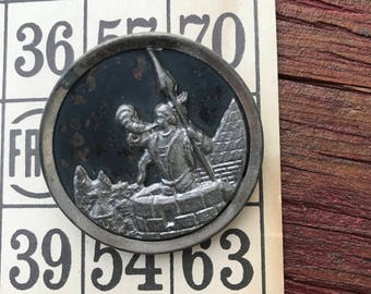 Antique Metal Picture Button Knight with Horn on Castle