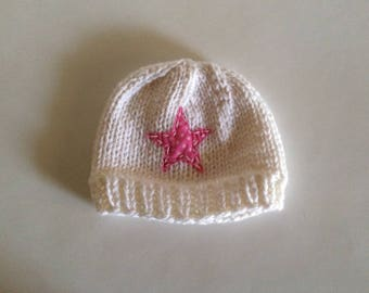 Hand Knit child's pink and white star hat