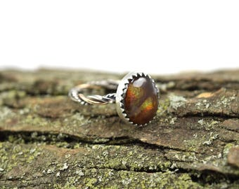 Fire Agate Ring in Size 5.5 - Twisted Band Ring - Silver and Gold Ring - Fire Agate Jewelry - Fire Agate Stacking Ring - Genuine Fire Agate