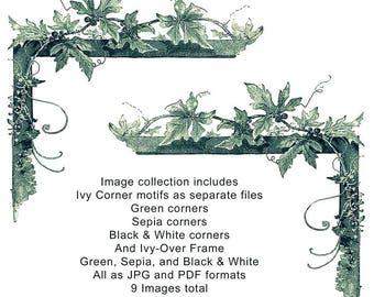 Digital Download Ivy Over Frame Collection, Illustration, Border, Vintage Victorian Clipart, Digital Collage