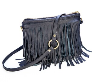 Crossbody leather fringe handbag, boho bag, black nappa leather with brass hardware