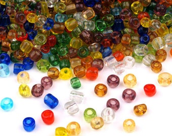 600 glass beads, 4mm, MIX (50 grams)  (1348)