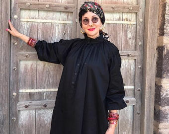 Great big black shirt , black cotton shirt , oversized shirt , black cotton smock , artists smock , poets smock , pure cotton clothes ,