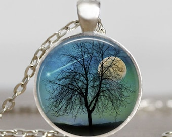 Shooting star necklace blue , harvest moon necklace, shooting star wish  pendant, tree and moon jewelry