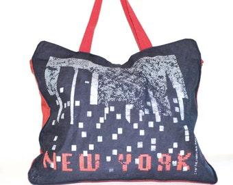Overnight Bag Weekender Bag Book Bag Canvas Tote Bag New York Bag Blue and Red New York Bag Big Apple New York NY