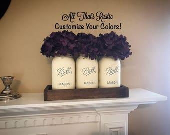 Rustic Mason Jar Centerpiece, Mason Jar Centerpiece, Painted Mason Jars, Mason Jar Set, Home Decor, Mason Jar Decor, Rustic Home Decor, Gift