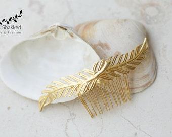 Gold Leaf Comb, Bridal Comb, Wedding Headpiece , Wedding Comb, Goddess Comb, Bridesmaid Gift, Boho Comb, Grecian Headpiece, Woodland