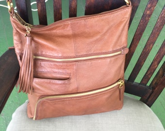 Vintage Hobo International Brown pebbled leather shoulder handbag