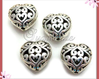 6 Filigree Heart Beads - Antiqued Silver Puffy Heart Beads 13mm PS90