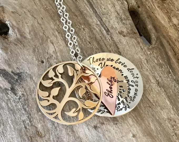 Memory necklace mourning | Grieving | Bereavement | Remembrance | Custom | Gold Bronze | Tree of Life | Sterling Silver | Locket | Heart