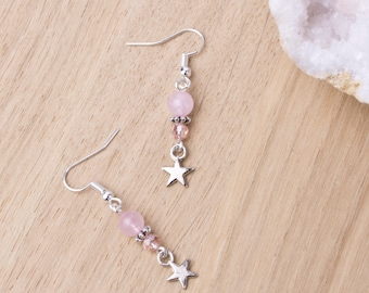 Rose quartz star earrings - Pink gemstone, bead and silver star dangle earrings | Boho jewelry | Pink quartz stone jewellery |  Rose quartz