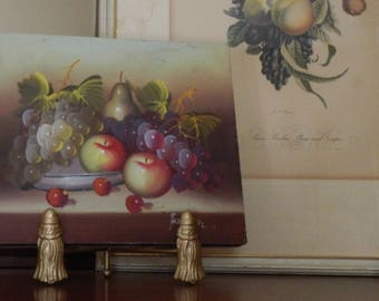 Original Art Vintage Fruit Oil Painting With Stand!