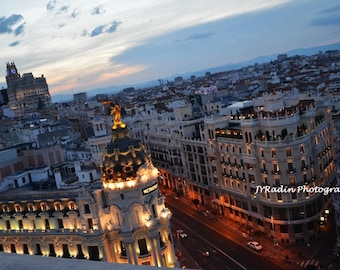 Madrid Rooftop Photograph - Print - Canvas - Spain - Spanish Sunset - City in Twilight / Home Decor / Travel Photography / Wall Art / photo