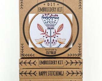 SHROOM BLOOM embroidery kit - embroidery hoop art, mushroom flower, scandi inspired, woodland botanical design, magic mushroom